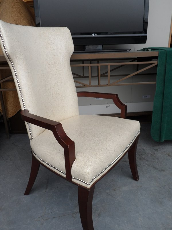Cream Patterned Leather ArmChair
