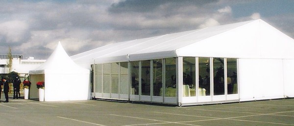 Glass walls for marquee inc. stillages