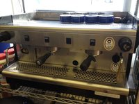 2 Group Rancilio Coffee Machine in Stainless Steel & Green Side For Sale
