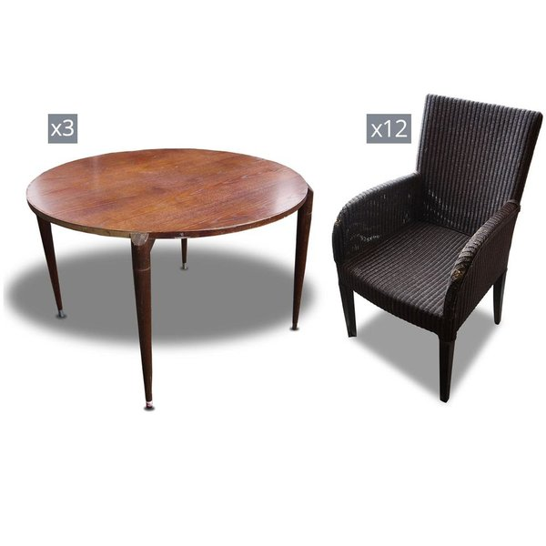 Ratton Armchairs And Round Table Set x3