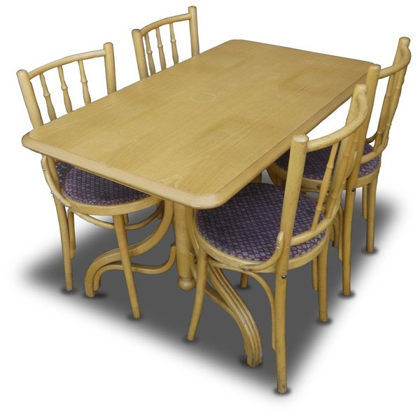 6x Lightwood Chairs and Table Set x4