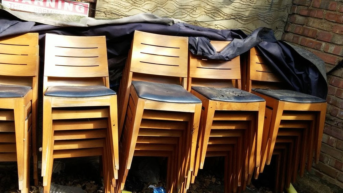 Secondhand chairs and tables restaurant or cafe