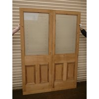 Etched Glass Double Doors with Clear Border