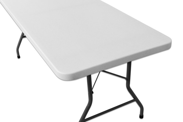 White Plastic Table with Folding Legs