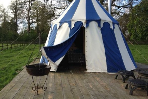 Medieval Glamping Tent - Blue and Natural