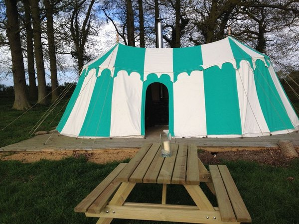 Sold Medieval Gl&ing Tent - Green and Natural - Bungay Suffolk & Curlew - SecondHand Marquees | Glamping and Camping Marquees or Tents