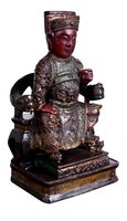Antique Wooden Mandarin Official Figure