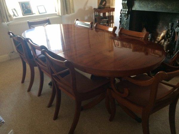 Sold Yew Wood Dining Table And 8 Chairs