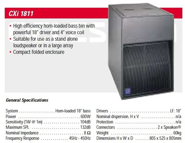 Celestion Cxi Line Array Speaker System Cxi822 Cxi1811