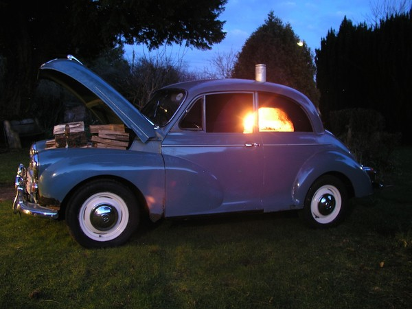 Unique Pizza Oven in a Morris Minor