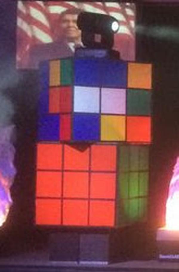 Giant Lit Rubik's Cubes