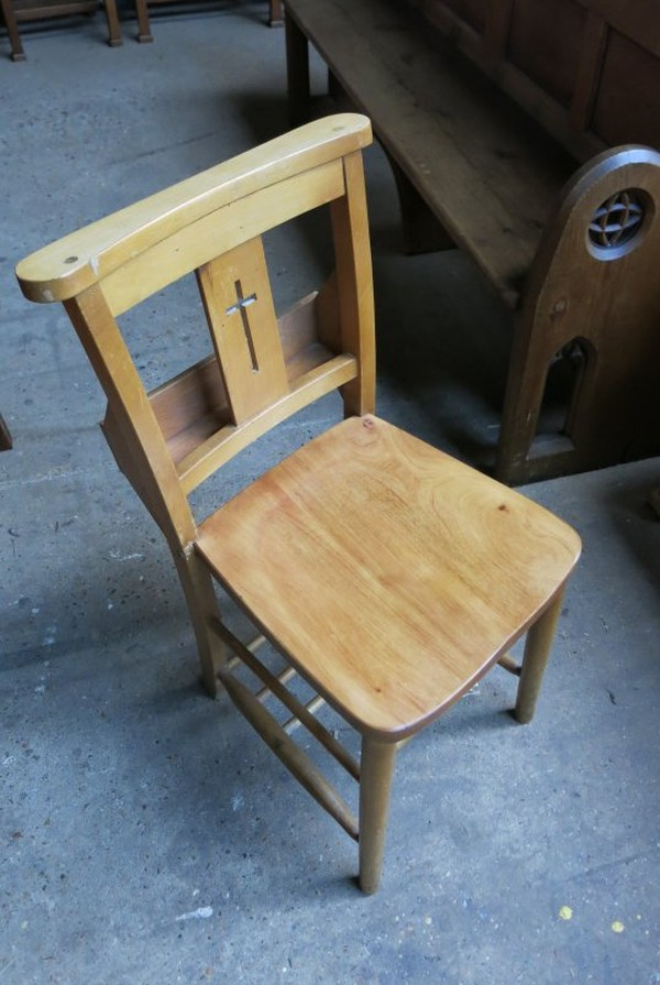 Harlech Beech Cross Back Chapel Church Chairs (E)
