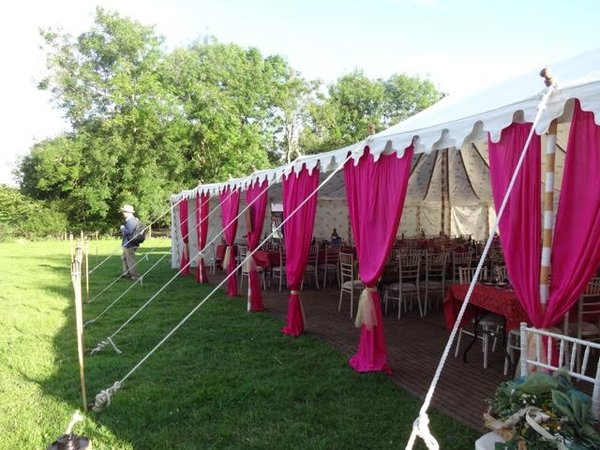 IIndian marquee with pink drapes