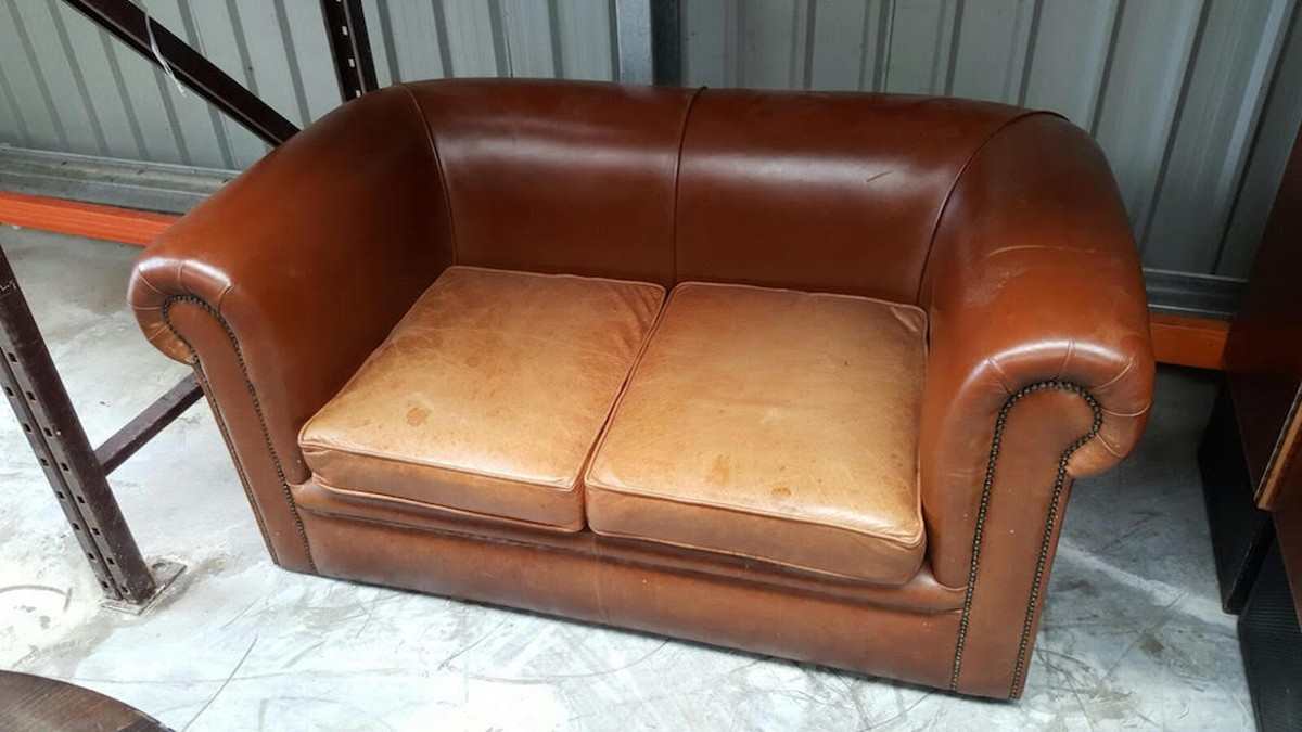 Secondhand Vintage And Reclaimed Lounge Furniture 2 Seater Leather Sofa London