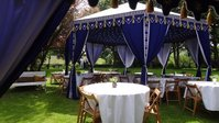 Royal Blue Marquee with Gold Tassels