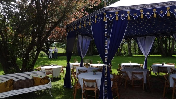 Royal blue marquee with tassels for sale