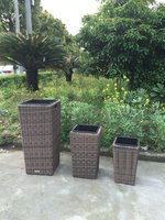 6x Sets of Brand New & Boxed Grey Rattan Plant Pot Sets