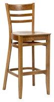 High bar stool in light oak.