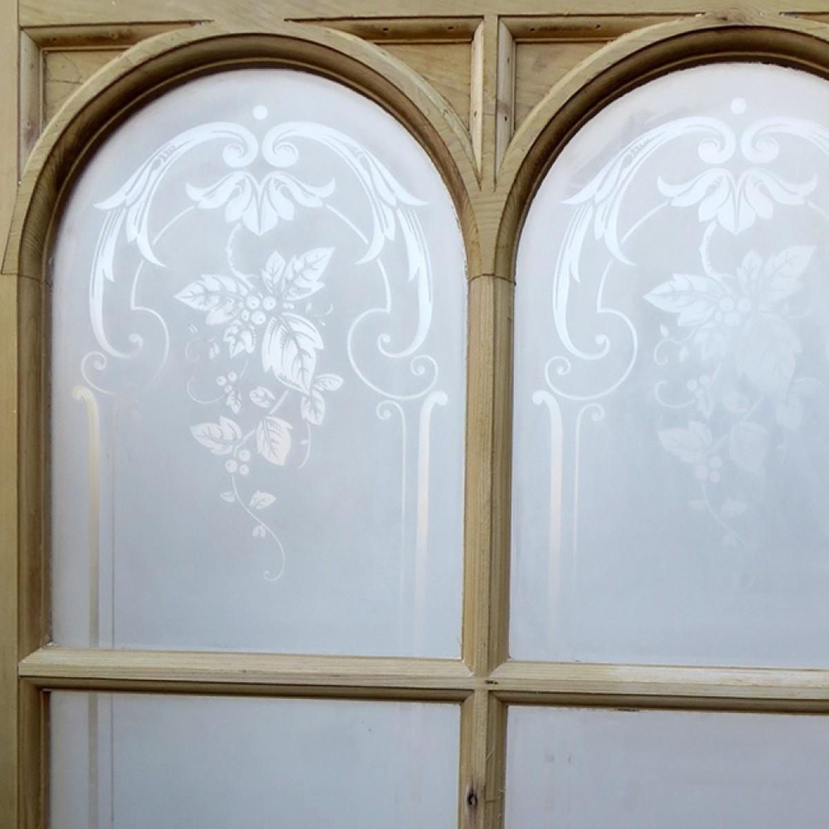 1200 #3C2913  Unrestored Original Arched Acid Etched Glass Exterior Door Cheshire wallpaper Etched Glass Front Doors 39351200