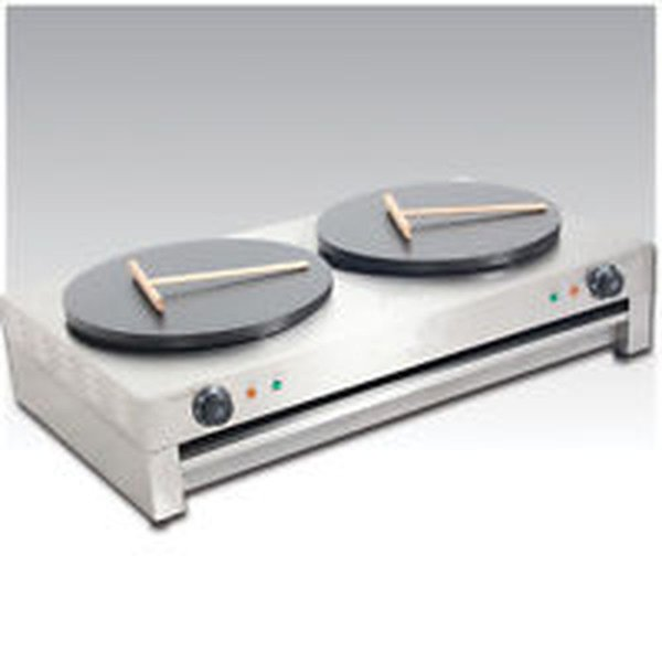 6kw Commercial Double Crepe Maker and Pancake Machine, 2 x Electric Hotplate