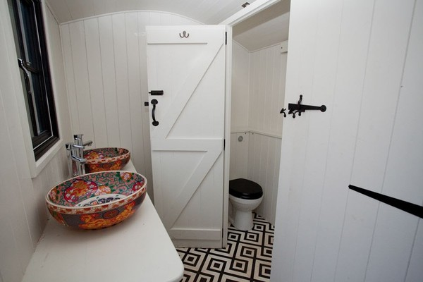 Male and Female Shepherds Hut Toilet Trailer