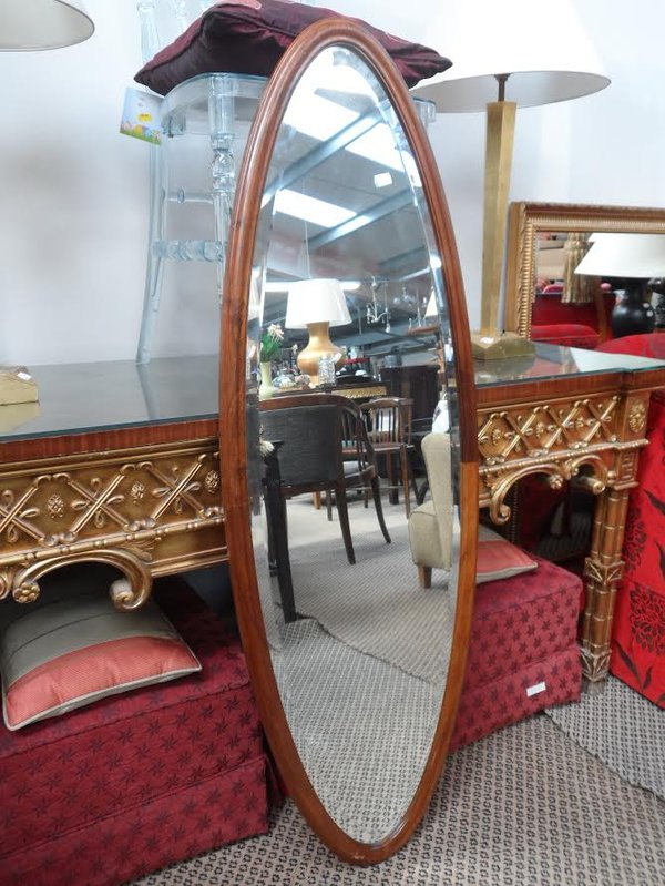 Wood framed oval mirror