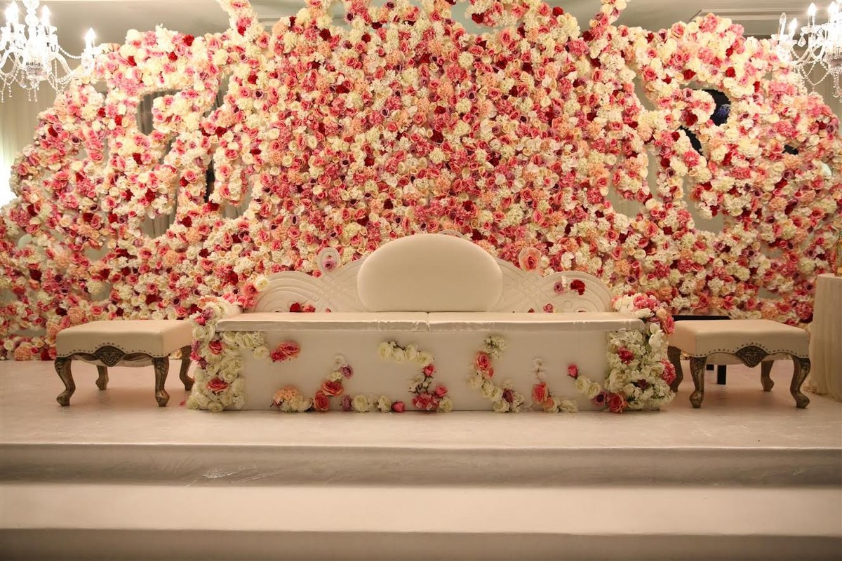 Flower Wall Wedding Back Drop Pink And White Rose Stage