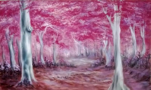Pink Blossom Tree Forest Backdrop
