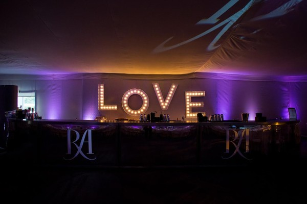 Wedding love illuminated letters