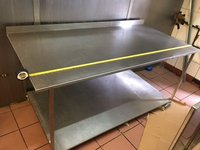 Deep stainless steel table