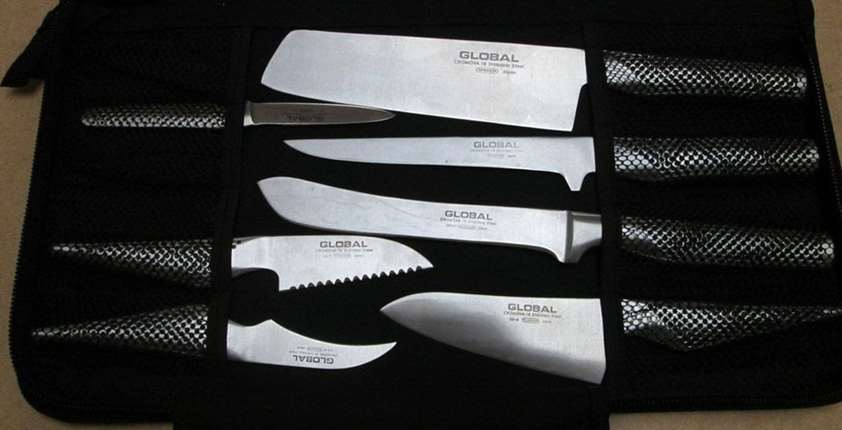 secondhand catering equipment chefs knives global professional chef 39 s knives 11 piece set. Black Bedroom Furniture Sets. Home Design Ideas