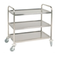 Stainless Steel serving trolley with 3 shelves