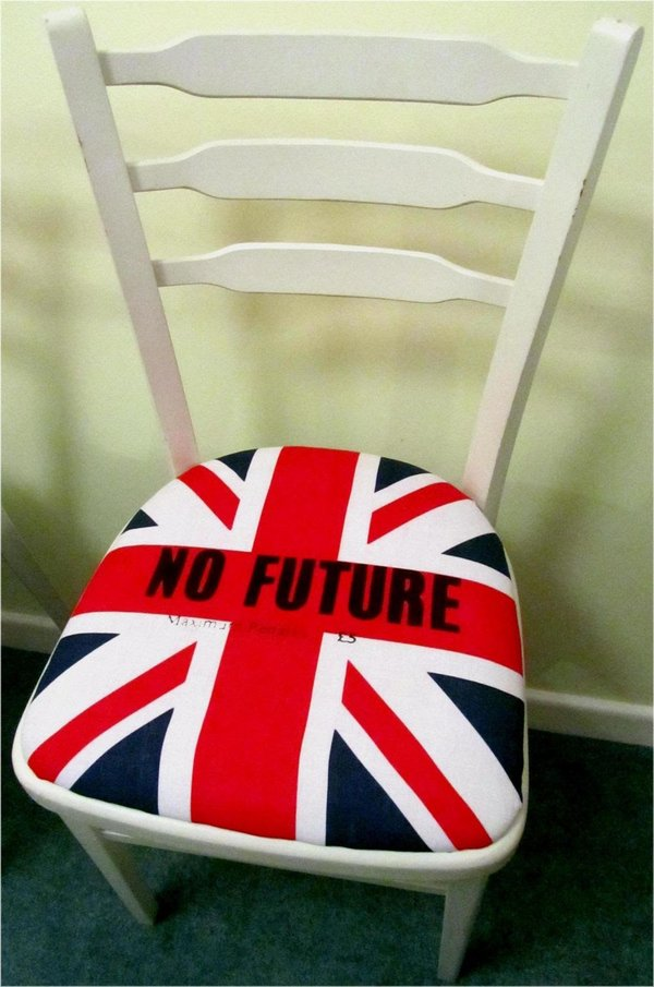 Upcycled white chairs with Sex Pistols Punk Rock Seat Pads