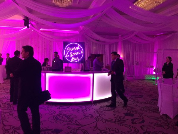 LED Colour Changing Circular Mobile Bar in 7 Sections 4m in Diameter