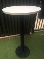 3x White Solid Poseur Tables