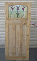 1930 Edwardian Stained Glass Exterior Door - Green Circle