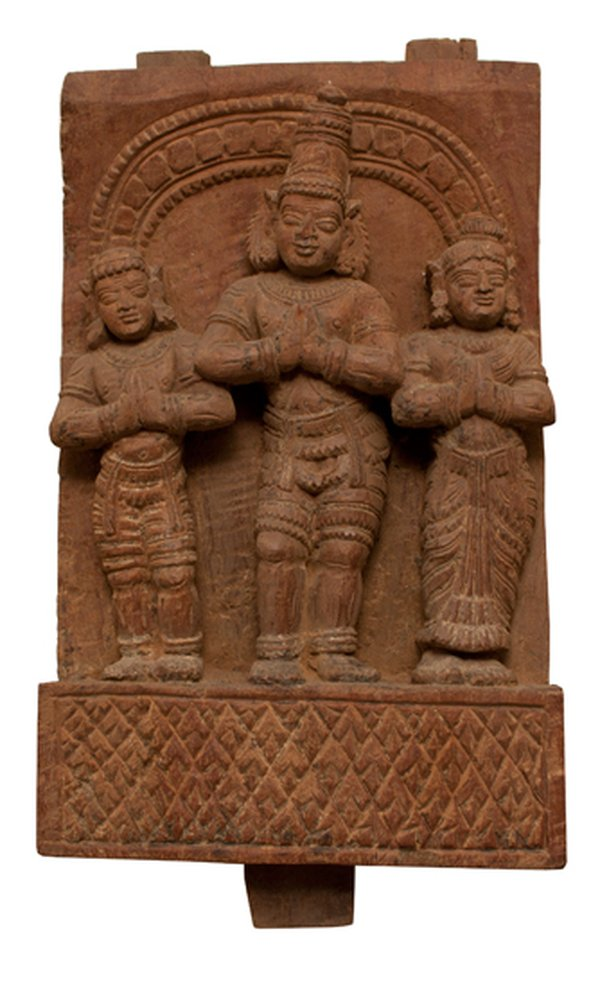 Early 19th Century Panel from India Lord Vishnu and Attendants