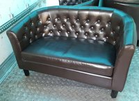 4x 2 Seater Faux Leather Sofas