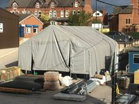 8m x 12m GREY Commercial Storage Shelter with 4m x 3.4m opening