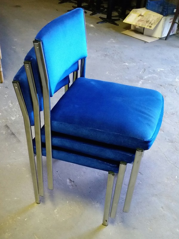 36 stacking chrome frame Royal Blue dragon chairs - Nottingham