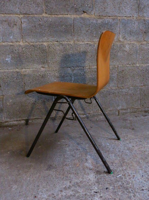 1960s Vintage Steel and Ply stacking 'Sterlux' Chairs