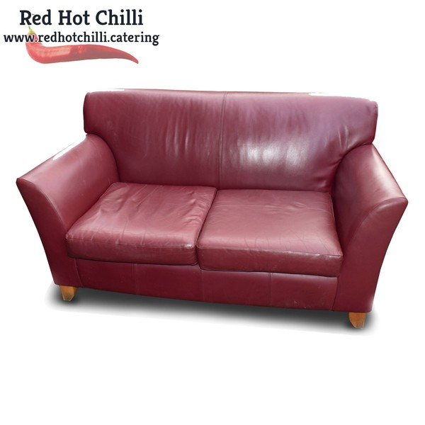 Red Leather Sofa's x2 (Ref: RHC1945) - Warrington, Cheshire