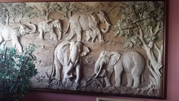 3D Hand Carved Wall-painting with Solid Wood Frame