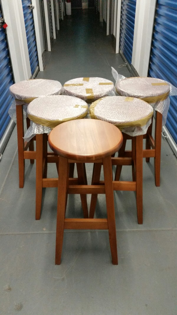 6x New Solid Beech Wood Bar Stools