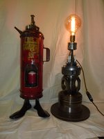 Vintage fire extinguisher and steam punk lamp