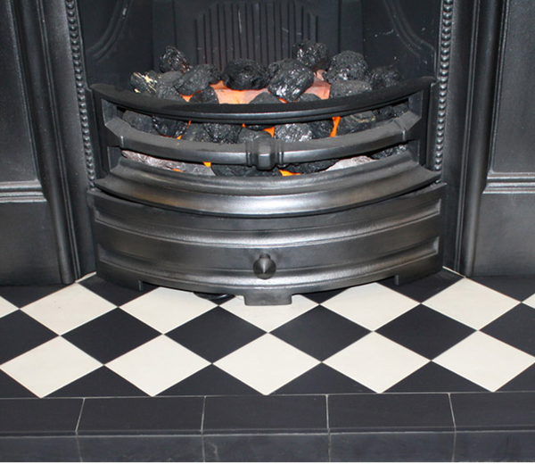 Black & White Diamond Quarry Tile Hearth