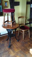 "3x Vintage Cast Iron ""Britannia"" Pub Tables + 3x Stools"