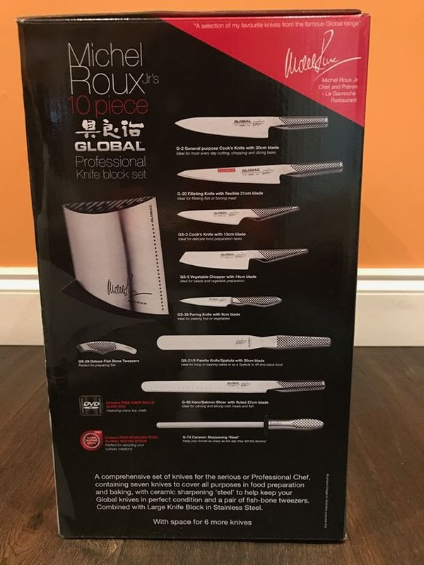 Brand New Michel Roux 10 piece Global Professional Knife Block Set