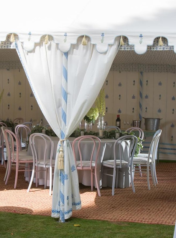 Curtains tied back for a wedding marquee