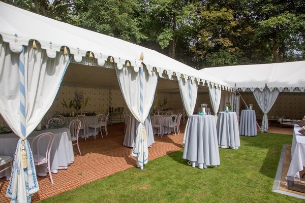 Marquee sides tied back for wedding
